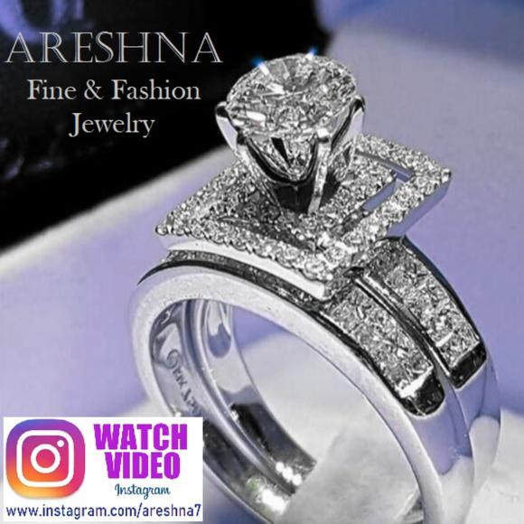 Fashion 1.2CT Emerald 925 Silver Wedding Bridal Ring Women/'s Jewelry Happy